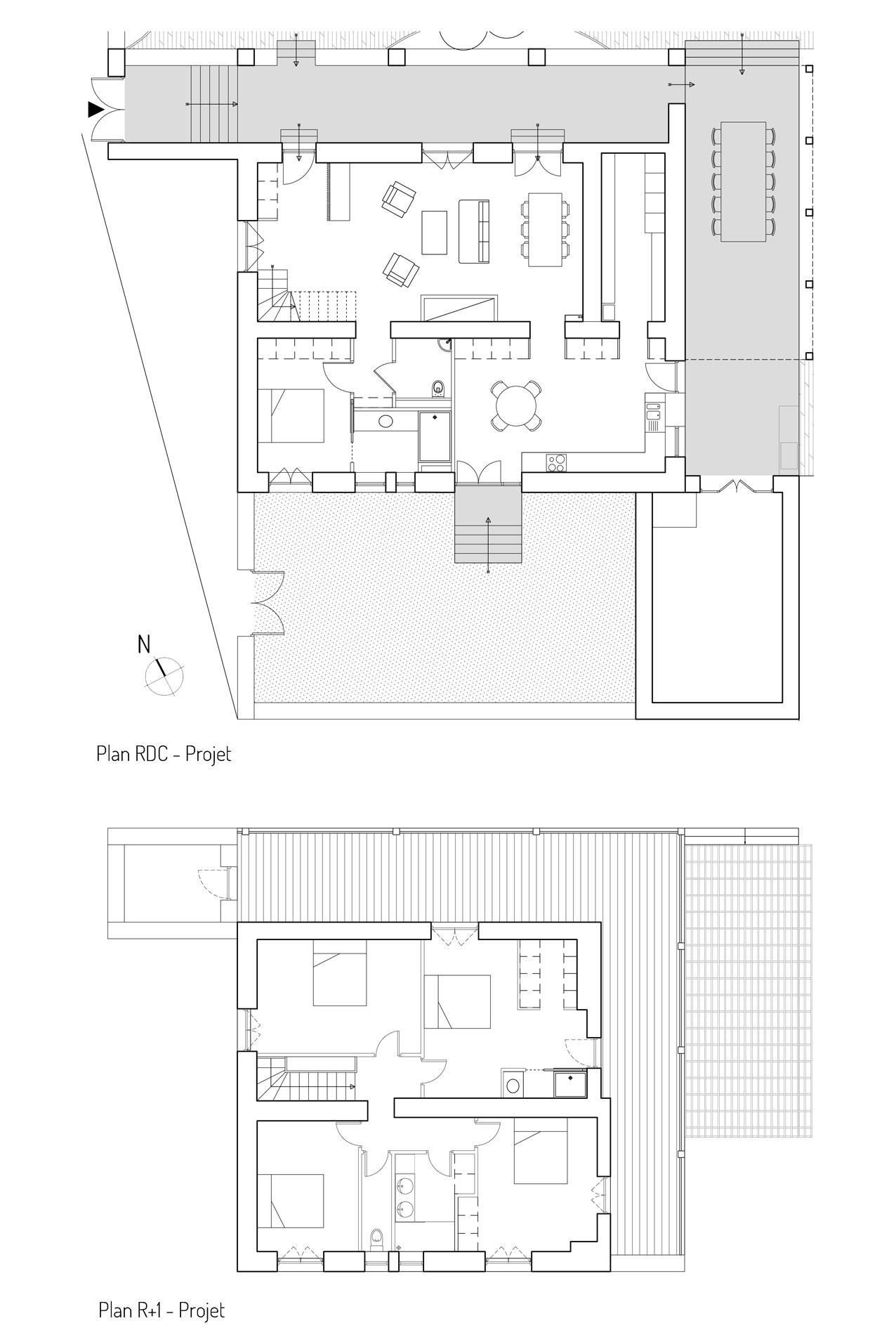 Au RDC, l'espace de vie sera restructuré et une suite parentale sera aménagée. A l'étage, les chambres existantes seront légèrement modifiées afin d'intégrer des salles d'eau et plus de rangements.
