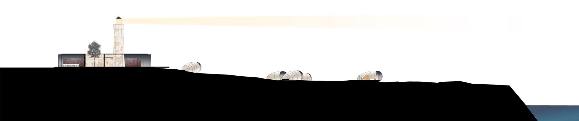 Coupe de principe du projet. La coupe permet de visualiser l'intégration des modules dans le paysage et l'aménagement du lobby/restaurant autour du phare existant. Le pavillon d'entrée domine le paysage et sa position permet de bénéficier d'une vue dégagée sur la mer.