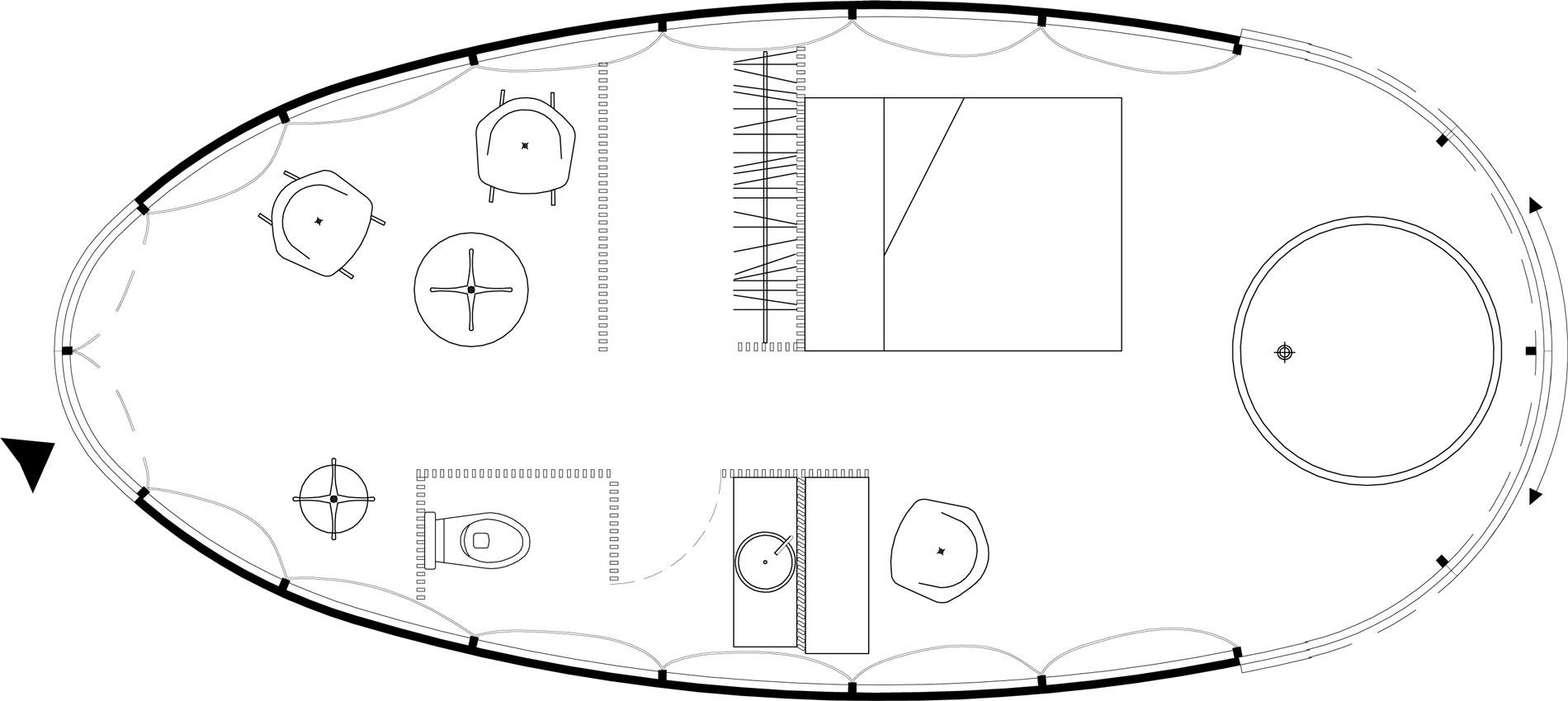 Plan de l'aménagement intérieur des cocons, avec tout le confort d'une chambre d'hôtel, salle d'eau, baignoire, petit salon, dressing
