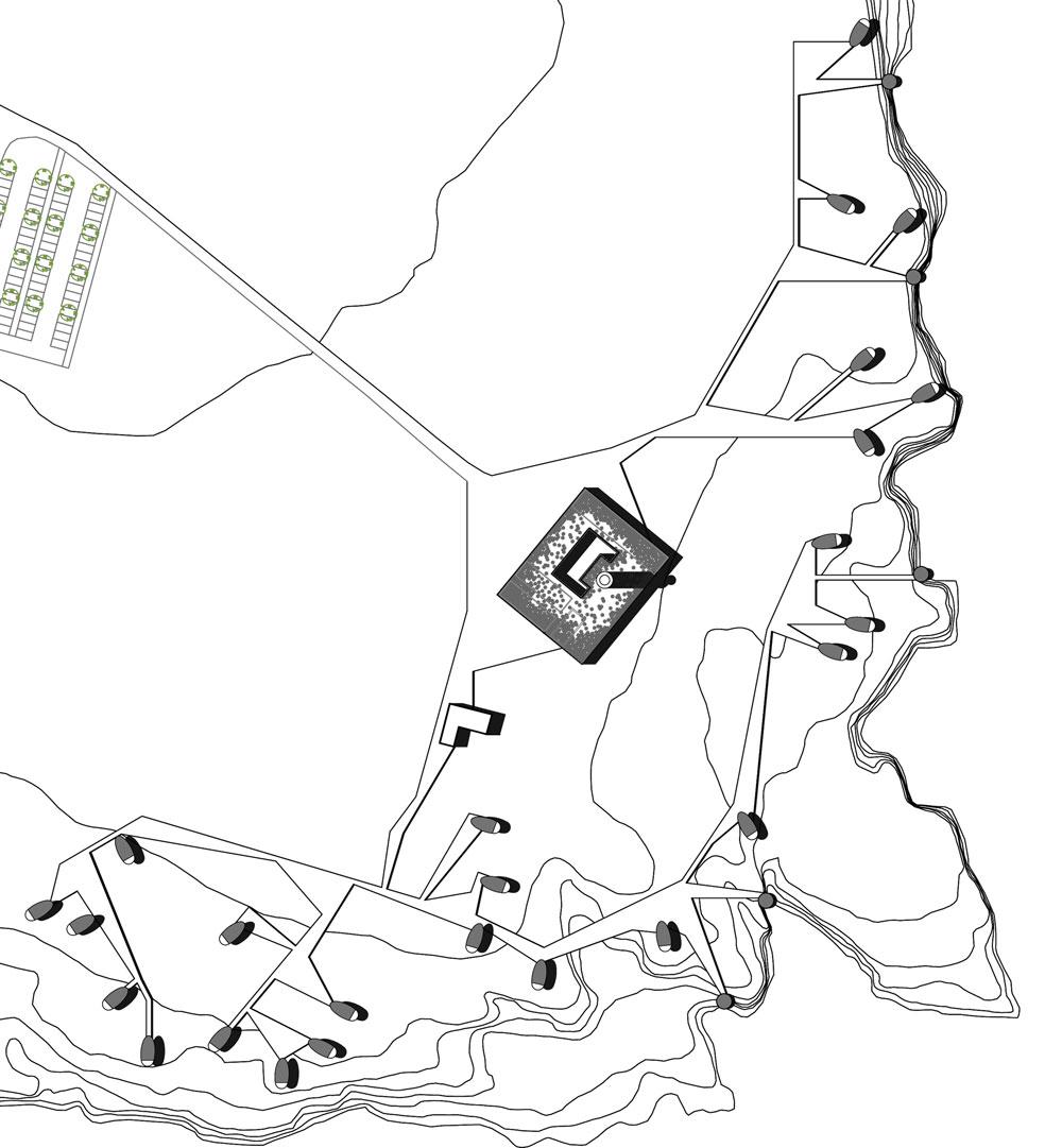 Plan de masse du projet d'aménagement du site de Porco di Murro. Le lobby/ restaurant autour du phare existant a une position centrale et prédominante. Les cocons viennent s'organiser le long de la falaise afin que chaque module bénéficie d'une vue dégagée sur la mer.