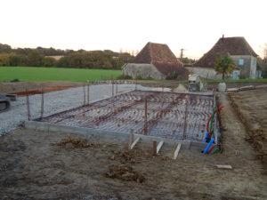 fondations du plancher du garage