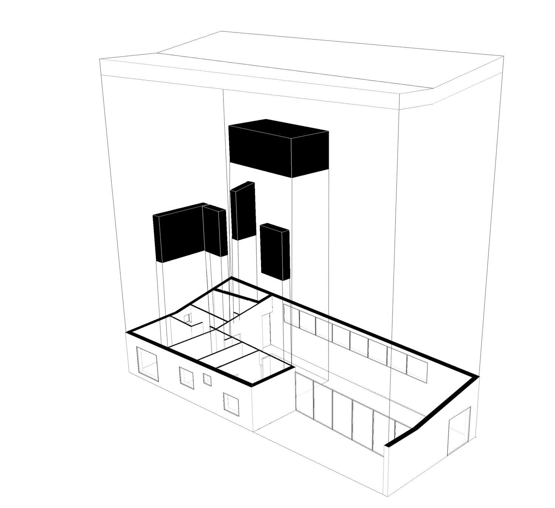 La maison est constituée d'un espace de nuit et d'un espace jour. Le centre de la maison est occupé par une zone de services regroupant des rangements, les sanitaires, le cellier, la buanderie et la cuisine.