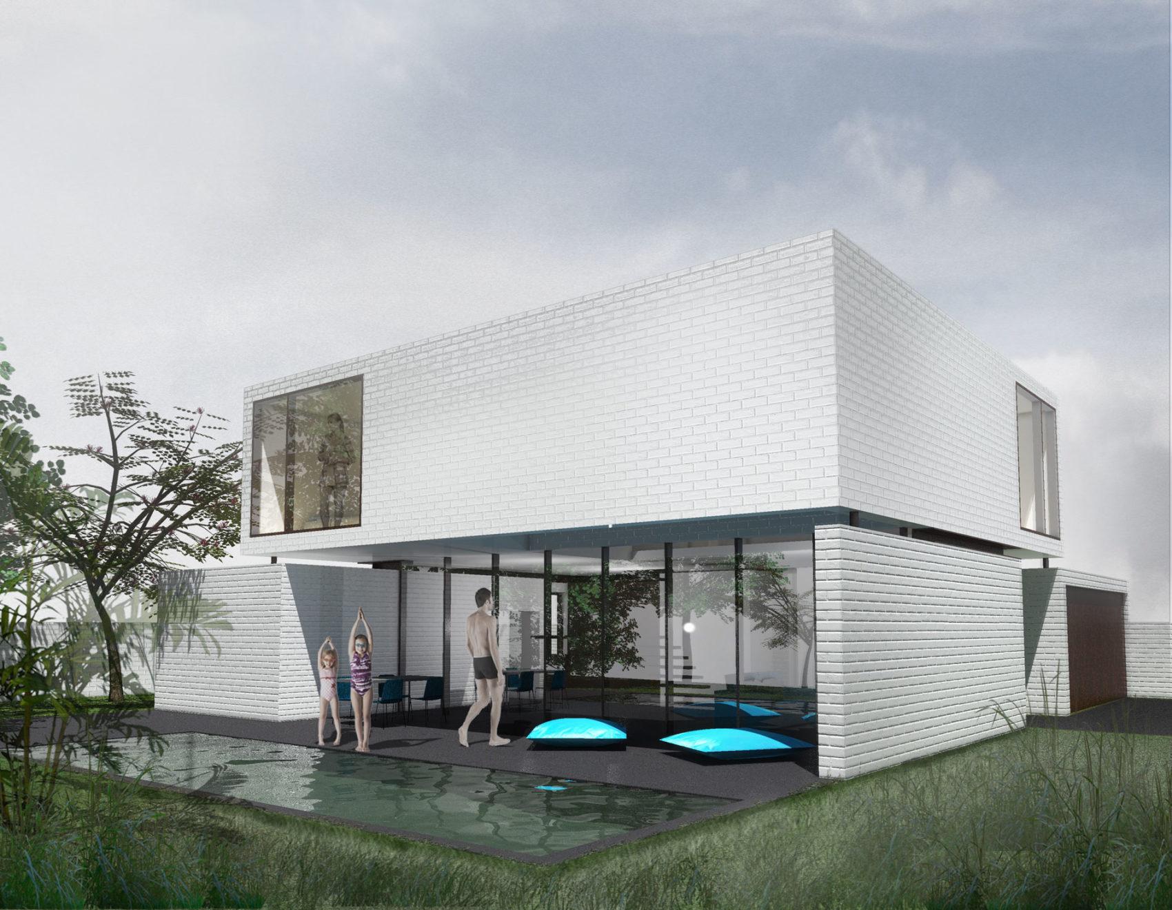 La maison MAR à Beauzelle (31 Haute Garonne) tout en briques blanches consiste en une superposition de volumes cubiques. Les lignes générales de la maison sont simples et pures.