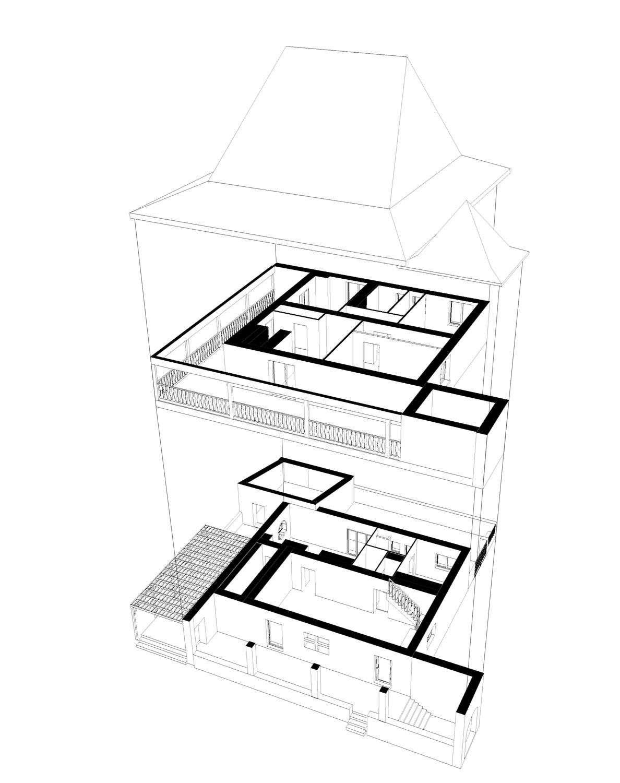 Le rez-de-chaussée accueille les pièces de vie de la maison ainsi qu'une suite parentale. A l'étage, 4 chambres s'organisent autour d'un petit palier.