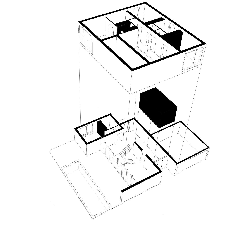 La volumétrie de la maison MAR à Beauzelle (31 Haute Garonne) est compacte. Le séjour présente une double hauteur autour duquel s'organise les chambres de l'étage. La terrasse extérieure est protégée par une avancée de toiture en continuité avec la double hauteur du séjour.