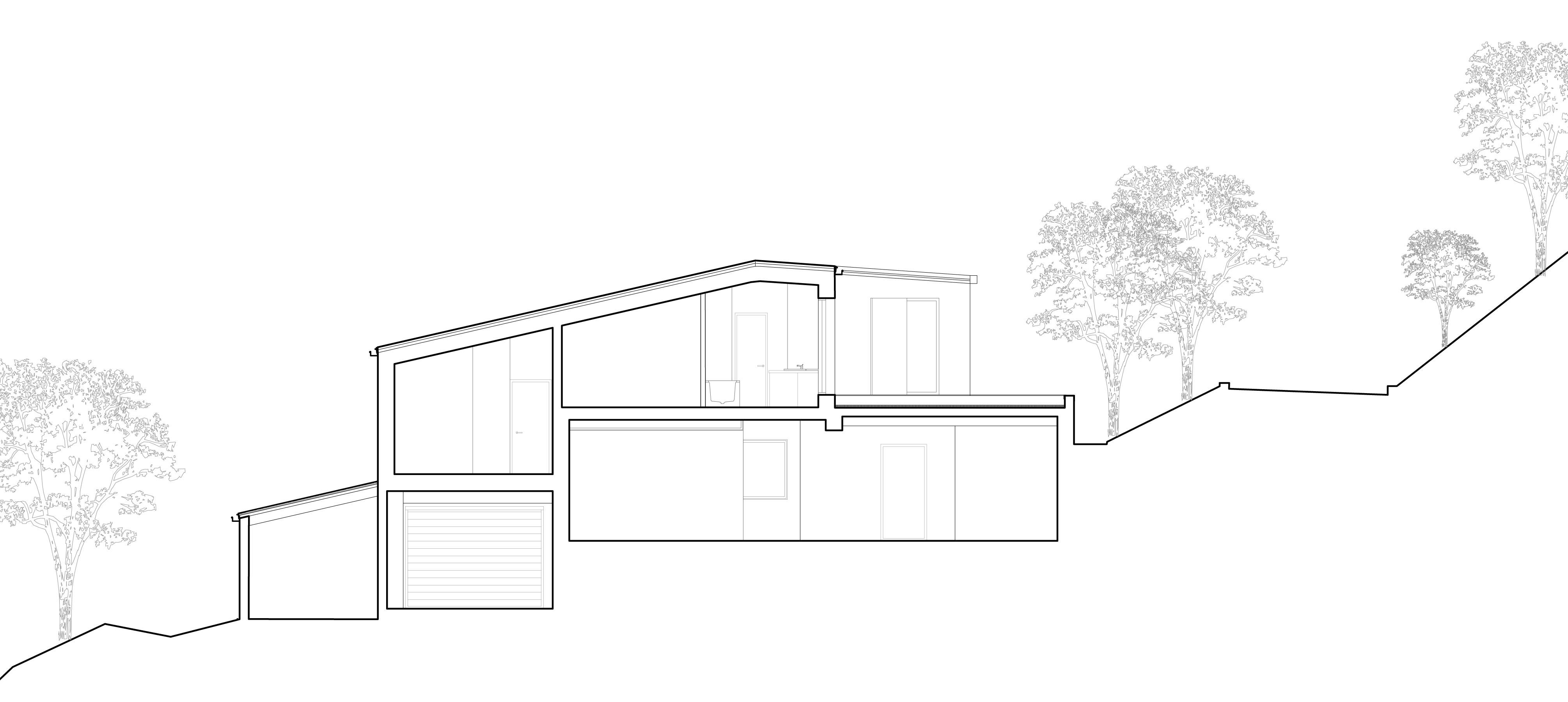 La coupe de la maison MRV à Toulouse permet de visualiser l'intégration de la maison dans la pente et l'implantation des demi niveaux.
