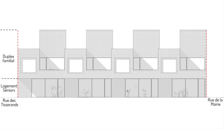 Les façades des logements sont habillées de briques blanches. La volumétrie générale est simple et épurée.