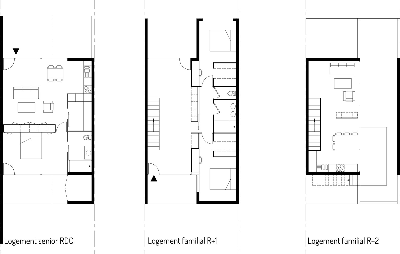 Les logements au RDC sont des T1 facilement accessible pour des personnes âgées. Les logements à l'étage sont de grands duplex bénéficiant d'espaces extérieurs généreux.