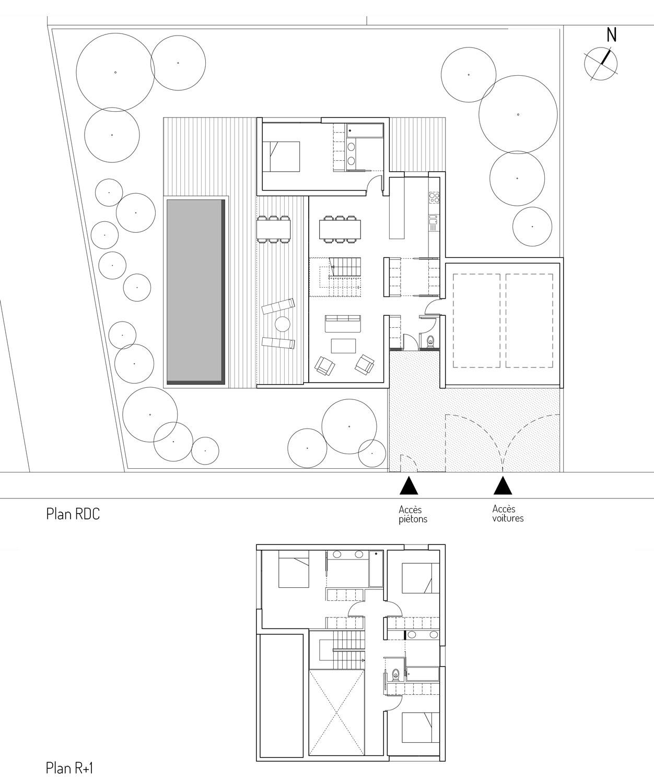Le plan de la maison MAR à Beauzelle (31 Haute Garonne) est compact et rationnel. Les pièces de vie s'ouvrent sur la terrasse et la piscine au sud ouest. Une zone de service accueille l'entrée, le cellier, le sanitaire et la cuisine. Une chambre d'amis vient s'accoler au séjour, tandis que les chambres de la famille s'organisent à l'étage autour de la double hauteur du séjour.