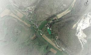 Vue aérienne de l'implantation de la maison PAL