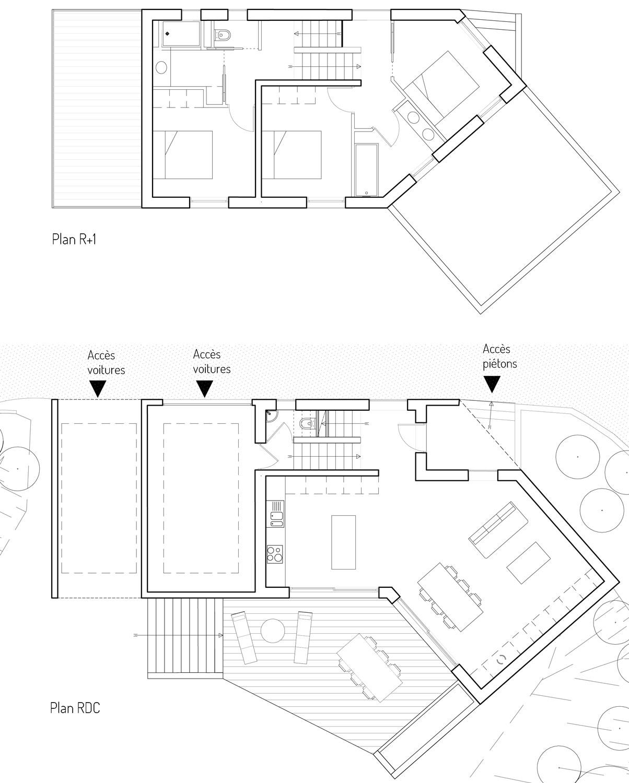 La maison MRV à Toulouse s'organise sur des niveaux afin de s'adapter à la forte déclivité du terrain. Le rez de chaussée bas accueille le garage et le sanitaire. Le rez de chaussée est occupé par l'espace de vie puis 2 demi niveaux permettent d'intégrer une suite parentale et l'espace des enfants.