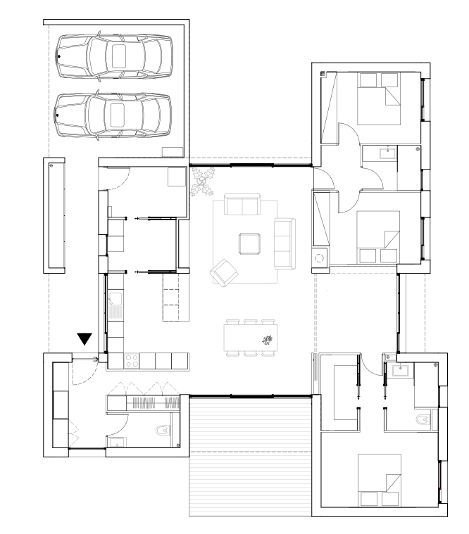 La maison est constituée d'un espace de nuit et d'un espace jour.