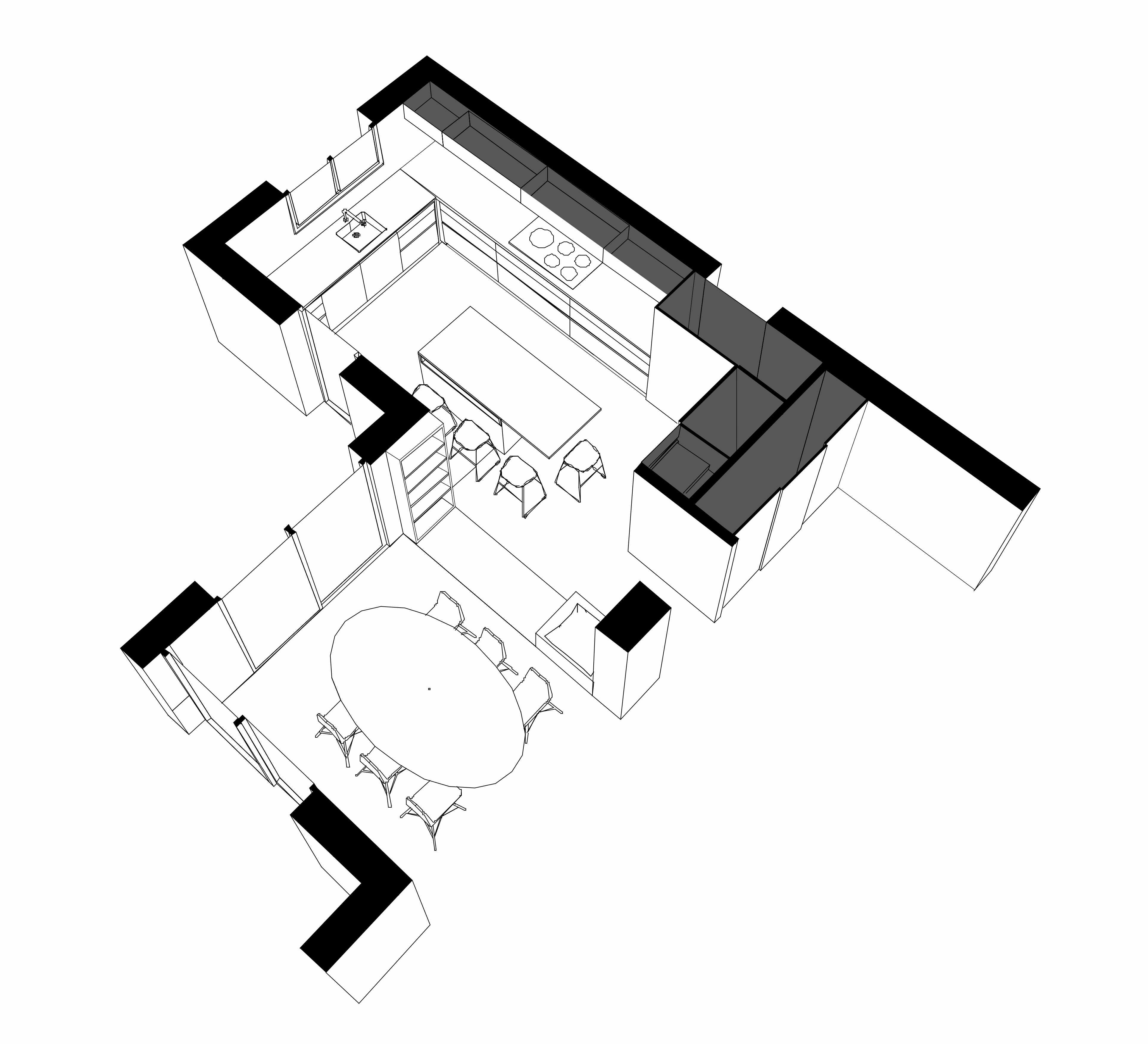 Axonométrie de la cuisine de la maison R