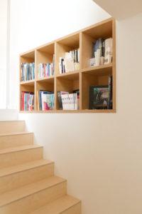 Détail bibliothèque bois- construction maison PP- architectes toulouse- saarchitectes