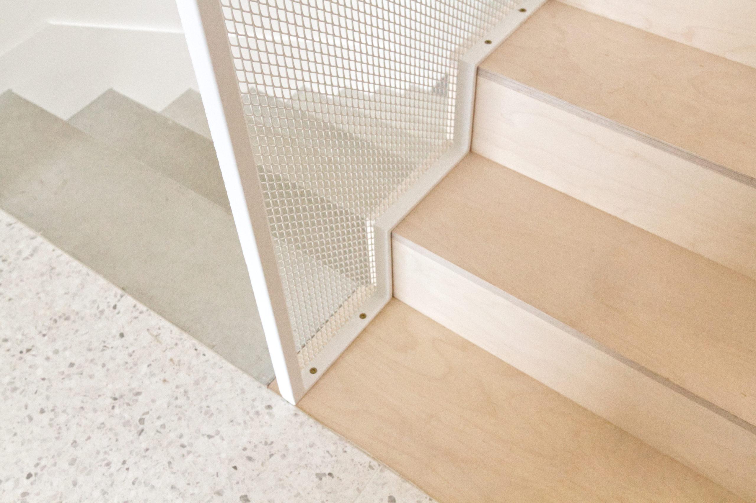 Détail escalier maison PP- terrazzo bois métal- architectes toulouse- saarchitectes