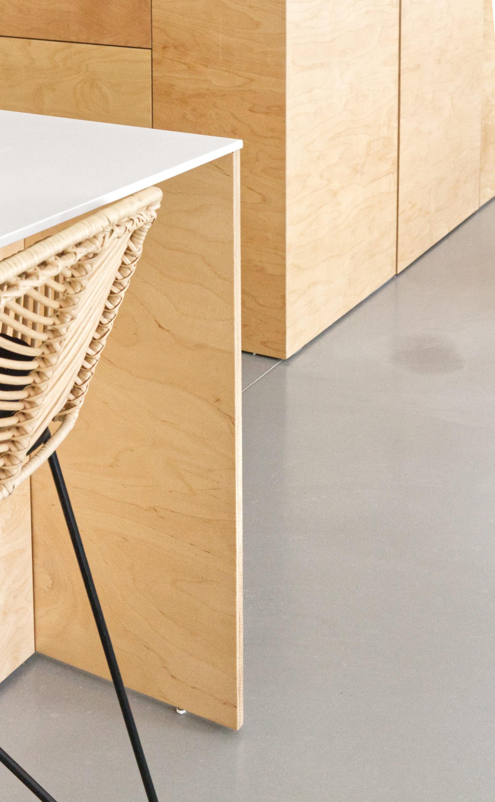 Détail ilôt cuisine- cuisine bois béton corian-construction maison PP- maison contemporaine- architectes toulouse- saarchitectes