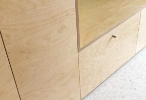 Détail meuble entrée- terrazzo bois- construction maison PP- architectes toulouse - saarchitectes
