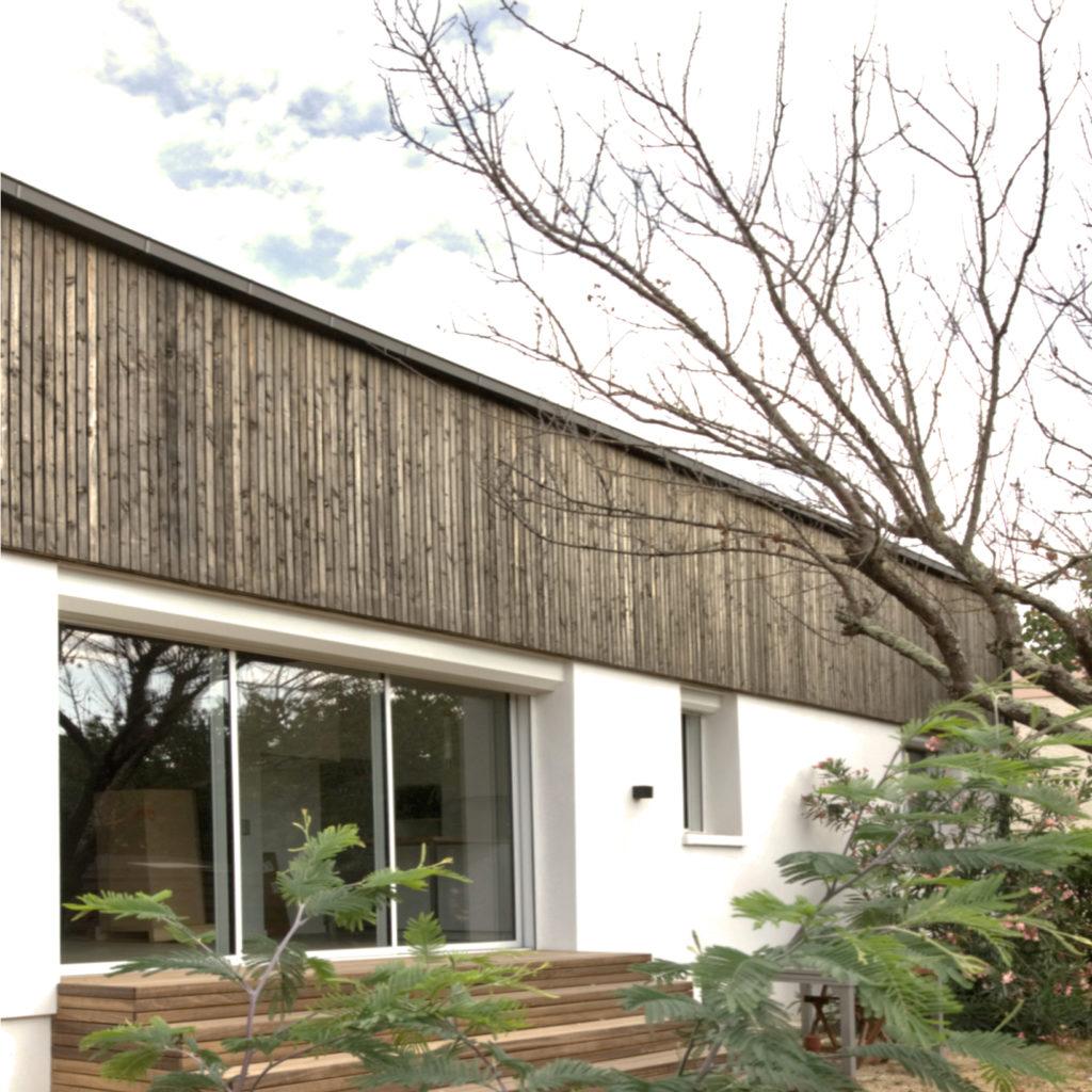 surélévation maison B-façade sur jardin-architectes toulouse - saarchitectes - carré